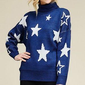 Sweaters - ❣Navy Blue Star Turtleneck Sweater❣